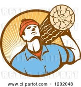 Vector Clip Art of Retro Worker Carrying a Log in a Circle of Sun Rays by Patrimonio
