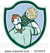 Vector Clip Art of Retro Worker Carrying a Log in a Green White and Blue Shield by Patrimonio