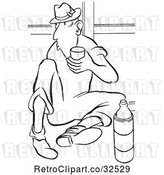 Vector Clip Art of Retro Worker Guy Drinking Water on His Break by Picsburg