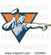 Vector Clip Art of Retro Worker Guy Holding a Hammer and Pointing Logo by Patrimonio