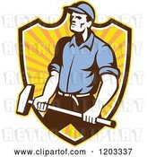 Vector Clip Art of Retro Worker Guy Holding a Sledgehammer over a Ray Shield by Patrimonio