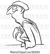 Vector Clip Art of Retro Worker Guy in Love by Picsburg