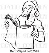 Vector Clip Art of Retro Worker Guy Reading an Exciting Story by Picsburg