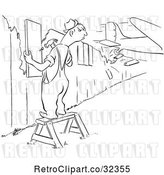 Vector Clip Art of Retro Worker Guy Repairing a Fence As a Plane Crashes Through Another Section by Picsburg