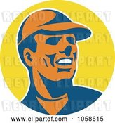 Vector Clip Art of Retro Worker Guy Wearing a Hat over a Yellow Circle by Patrimonio