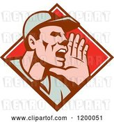 Vector Clip Art of Retro Worker Holding up His Hand and Shouting in a Diamond by Patrimonio