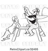 Vector Clip Art of Retro Worker Lady Sitting on a Saw Horse and Rolling a Cigarette by Picsburg