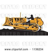 Vector Clip Art of Retro Worker Operating Bulldozer Machine 1 by Patrimonio