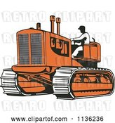 Vector Clip Art of Retro Worker Operating Bulldozer Machine 2 by Patrimonio