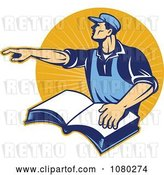 Vector Clip Art of Retro Worker Pointing and Resting a Hand on a Book, over Orange Rays by Patrimonio