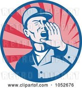 Vector Clip Art of Retro Worker Shouting Logo by Patrimonio