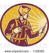 Vector Clip Art of Retro Worker Using a Welding Torch in a Ray Oval by Patrimonio