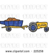 Vector Clip Art of Retro Working Yellow Sketched Tractor by Prawny