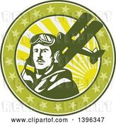 Vector Clip Art of Retro World War One Male Pilot Aviator and Spad Biplane, on a Green Cricle with Stars and Sunshine by Patrimonio