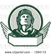 Vector Clip Art of Retro World War One Male Pilot Aviator Looking up over a Wing Banner by Patrimonio
