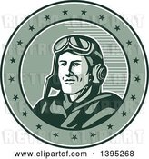Vector Clip Art of Retro World War One Male Pilot Aviator Smiling in a Circle with Stars by Patrimonio