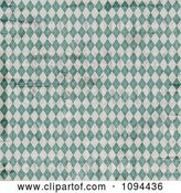 Vector Clip Art of Retro Worn Grungy Green and White Argyle Pattern by KJ Pargeter