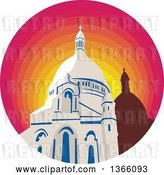 Vector Clip Art of Retro WPA Style Catholic Church Dome Cathedral in a Gradient Sunset Circle by Patrimonio