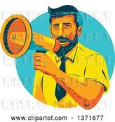 Vector Clip Art of Retro Wpa Styled Businessman Announcing Through a Megaphone in a Turquoise Circle by Patrimonio