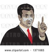 Vector Clip Art of Retro WPA Styled Businessman Holding up a Finger by Patrimonio