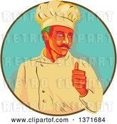 Vector Clip Art of Retro Wpa Styled Green Haired Chef with a Mustache, Giving a Thumb up and Emerging from a Brown and Turquoise Circle by Patrimonio