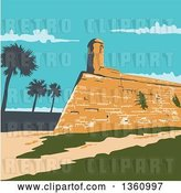 Vector Clip Art of Retro Wpa Styled Landscape of Fort Marion in St. Augustine, Florida, United States by Patrimonio