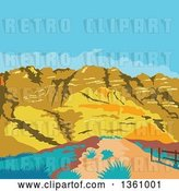 Vector Clip Art of Retro Wpa Styled Landscape of Red Rock Canyon, Mojave Desert, Nevada by Patrimonio