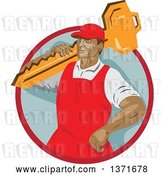 Vector Clip Art of Retro Wpa Styled Locksmith Carrying a Giant Key over His Shoulder in a Red and Gray Circle by Patrimonio