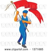 Vector Clip Art of Retro Wpa Styled Male Worker Marching Wtih a Flag by Patrimonio