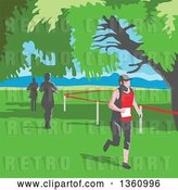 Vector Clip Art of Retro Wpa Styled Marathon Runners Under Trees by Patrimonio