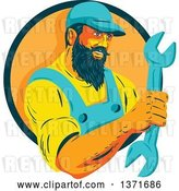 Vector Clip Art of Retro Wpa Styled Mechanic with a Beard, Holding a Giant Wrench and Emerging from a Green and Orange Circle by Patrimonio