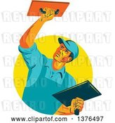 Vector Clip Art of Retro WPA Styled Plasterer Worker Guy Emerging from a Yellow Circle by Patrimonio