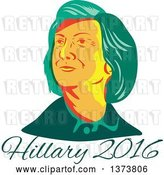 Vector Clip Art of Retro WPA Styled Portrait of Democratic Presidential Nominee Hillary Clinton over Text by Patrimonio