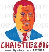 Vector Clip Art of Retro WPA Styled Portrait of Republican Presidential Nominee Chris Christie over Text by Patrimonio