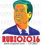 Vector Clip Art of Retro WPA Styled Portrait of Republican Presidential Nominee Marco Rubio over Text by Patrimonio