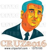 Vector Clip Art of Retro Wpa Styled Portrait of Ted Cruz, Replubican Presidential Candidate, over Text by Patrimonio