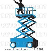 Vector Clip Art of Retro Wpa Styled Silhouetted Male Worker on a Cherry Picker Scissor Lift by Patrimonio