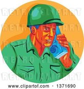 Vector Clip Art of Retro Wpa Styled WWII American Soldier Talking on a Field Radio in an Orange Circle by Patrimonio