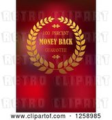 Vector Clip Art of Retro Wreath Money Back Guarantee Label on Red by Vector Tradition SM