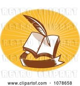 Vector Clip Art of Retro Writing Quill and Book Logo by Patrimonio