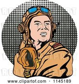 Vector Clip Art of Retro WW2 Airman Pilot over Halftone by Patrimonio