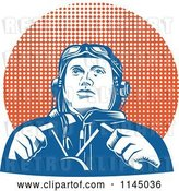 Vector Clip Art of Retro WW2 Pilot in the Cockpit over Halftone by Patrimonio