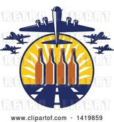 Vector Clip Art of Retro WWII B-17 Flying Fortress Bombers Taking off over Beer Buttles and a Runway by Patrimonio