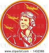 Vector Clip Art of Retro WWII Male Aviator Pilot and Fighter Planes in a Yellow Red and White Circle by Patrimonio