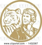 Vector Clip Art of Retro WWII Male Aviator Pilot and Tiger in a Tan and White Circle by Patrimonio