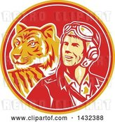 Vector Clip Art of Retro WWII Male Aviator Pilot and Tiger in a Yellow Red and White Circle by Patrimonio