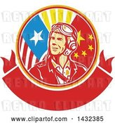 Vector Clip Art of Retro WWII Male Aviator Pilot in an American and Chinese Flag Circle over a Blank Banner by Patrimonio
