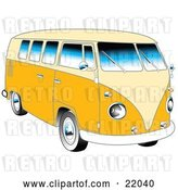 Vector Clip Art of Retro Yellow 1962 VW Bus with Chrome Detail and a Pale Yellow Roof and Accents by Andy Nortnik