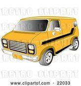 Vector Clip Art of Retro Yellow 1979 Chevy Van with Tinted Windows and Black Striping on the Side by Andy Nortnik