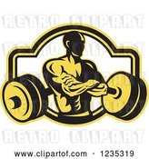 Vector Clip Art of Retro Yellow and Black Bodybuilder with a Barbell by Patrimonio